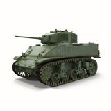 M5A1 Stuart Light WWII US Tank on White Background Royalty Free Stock Image