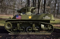M5 Stuart Tank. This is a picture of U.S. Army M5 Stuart used during World War II on display at the Cantigny Tank Park located in Winfield, Illinois in DuPage Stock Photos