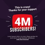 4M subscribers celebration background design. 4 million subscribe vector illustration