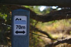 70 m swimming zone sign. Close up view of 70 m swimming zone sign royalty free stock photo