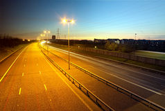 M6 toll road at dusk, Cannock. M6 toll road at dusk near Cheslyn Hay and Bridgetown Royalty Free Stock Photo