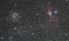 M52- und Blasennebelfleck Stockfotos