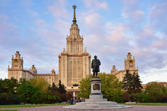 M.V.Lomonosov monument in front of Main building of Moscow State Royalty Free Stock Images