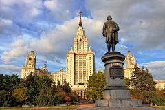 M.V.Lomonosov monument in front of Moscow Univ. M.V.Lomonosov monument in front of Main building of Moscow State University, Moscow, Russia Royalty Free Stock Photos