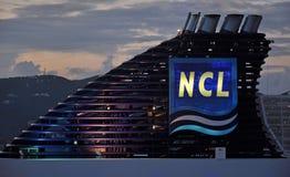 M/V Norwegian Sun. Norwegian Sun cruise ship funnel and logo at night Stock Photos