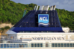 M/V Norwegian Sun. Norwegian Sun cruise ship funnel and NCL cruise lines logo Royalty Free Stock Photography