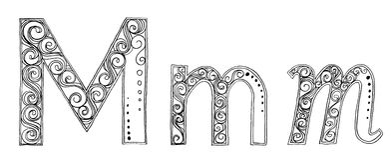 Шрифт эскиза карандаша m Vanda freehand Стоковые Изображения RF