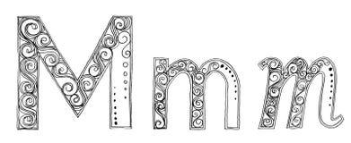 M Vanda freehand pencil sketch font. Calligraphy Designs freehand pencil sketch and scan Concept fancy of Vanda flower orchid set have font and symbol type on stock illustration