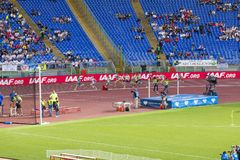1000 m veteran athletes. On the race on Diamond League in Rome, Italy in 2016 stock photography
