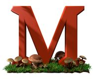 M is voor paddestoel royalty-vrije stock afbeelding