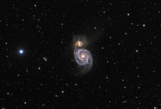 M51 Whirlpool Galaxy Real Photo. The Whirlpool Galaxy known as Messier 51a, M51a, or NGC 5194) is an spiral galaxy in the constellation Canes Venatici Royalty Free Stock Photos