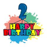 Happy birthday vector design with number two, for a two year old child royalty free illustration