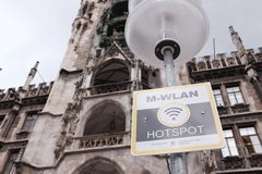 M-Wlan. Free public Wlan hotspot at the munich Marienplatz Royalty Free Stock Images