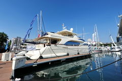 M/Y Blue by Azimut Yachts on display at the Singapore Yacht Show 2013 Royalty Free Stock Photos