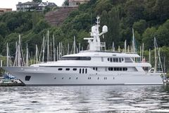 M/Y Invader moored in Seattle`s Lake Union. Luxury yacht at the dock in Seattle for maintenance Royalty Free Stock Photos