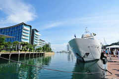 M/Y Tanvas by Sunseeker on display at the Singapore Yacht Show 2013 Royalty Free Stock Photography