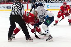 M. Yakubov (75) vs G. Kinrade (4) on faceoff Royalty Free Stock Photo