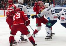 M. Yakubov (75) vs G. Kinrade (4) on faceoff Royalty Free Stock Photos