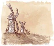 Młyny na wzgórzu ilustracja wektor