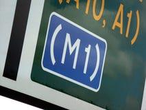 M1 Verkehrsschild innen Großbritannien Lizenzfreies Stockfoto