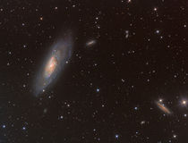 M106 spiral galaxy in constellation Canes Venatici Stock Images