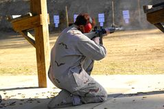 M16 riflle. A sailor training with the m16 riflle Stock Photos