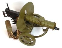 M1910 machine gun with ammo belt. Stock Images