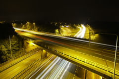 M25 Motorway at Night: Light Trails. Stock Images