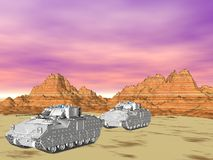 M2A2 Bradley Vehicle. Illustration of Bradley fighting vehicles lined up in the desert Stock Image