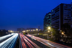 M30 Highway in an Early Foggy Morning Royalty Free Stock Images