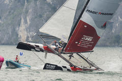 M32 series mediterranean, a sailing fast catamaran competition Royalty Free Stock Photography