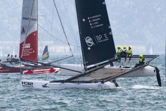 M32 series mediterranean, a sailing fast catamaran competition Royalty Free Stock Photos