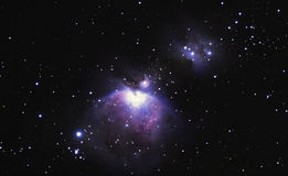 M42, the Orion nebula. The Orion nebula is one of the brightest in the sky, visible to the naked eye royalty free stock photography