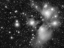 M45. Real luminance picture taken with telescope of m45 nebula and pleiades stars cluster Stock Photos