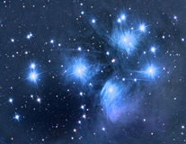M45 Pleiades. Open star cluster astronomy telescope nebula star royalty free stock images