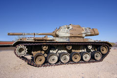 M47 Patton tank. Old M47 Patton military tank on display in a park Stock Photos