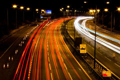 M6 Motorway at night. M6 Motorway northbound between J10 + J11. The busiest stretch of motorway in Europe. Also fast fiber optic connection concept royalty free stock image