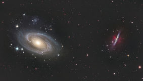 M81 and M82. Bodes galaxy and Cigar Galaxy in constellation Ursa Major astronomy telescope nebula star stock photography