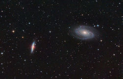 M81 and M82. Spiral and Exploding galaxies. Royalty Free Stock Photo