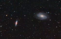 M81 y M82. Galaxias espirales y de estallidos. Foto de archivo libre de regalías