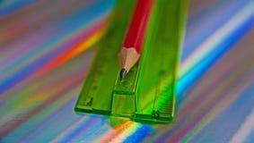 Maß, Machthaber und Bleistift Stockbilder