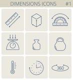 Maße und Maßlinie Symbole Entwurfs-Ikonense des Vektors dünnes vektor abbildung