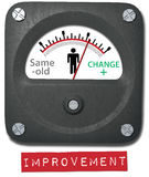 Maßpersonenänderung auf Verbesserungsmeter Stockbilder