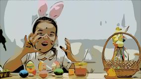 Mała śliczna i urocza dziewczyna jest uśmiechnięta szczerze Bierze Wielkanocnego jajko i pokazuje rezultat jej praca, używać ona zbiory