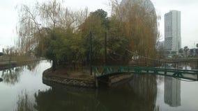 Mała wyspa po środku malowniczego jeziora z mostem zdjęcia stock