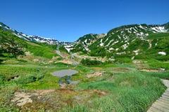 Mały halny jezioro na tle śnieżysty sopki Dolina Gejzery Kronotsky stanu rezerwat przyrody obraz stock