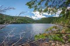 Mały jezioro w Les grands parki narodowi, Quebec fotografia stock