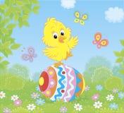 Mały Wielkanocny kurczątko na dekorującym jajku obraz royalty free