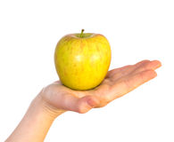 Maçã amarela na palma fêmea Imagem de Stock