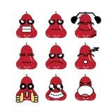 Maçã cor-de-rosa da cara do ícone Imagens de Stock Royalty Free
